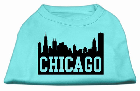 Chicago Skyline Screen Print Shirt Aqua Xxl (18)-Dog Shirts-Pristine Pups