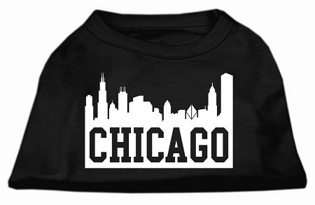 Chicago Skyline Screen Print Shirt Black Sm (10)-Dog Shirts-Pristine Pups