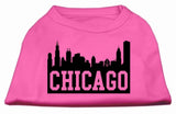 Chicago Skyline Screen Print Shirt Bright Pink Lg (14)-Dog Shirts-Pristine Pups