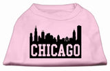 Chicago Skyline Screen Print Shirt Light Pink Med (12)-Dog Shirts-Pristine Pups