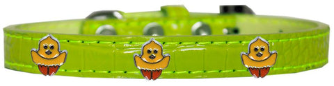 Chickadee Widget Croc Dog Collar Lime Green Size 12-Pristine Pups