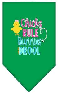Chicks Rule Screen Print Bandana Emerald Green Small-Pristine Pups