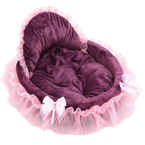 Cute Lace Pet Beds Princess Cat Dog Pet Beds House Soft Warm Pet Bed Size Small-Pristine Pups