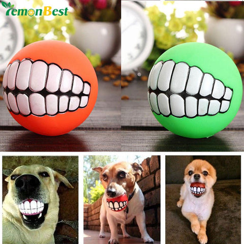 Cute Pet Product Pet Ball Toys Puppy Cat Dog Funny Ball Teeth Silicon Toy Chew Sound Dogs Play-Pristine Pups