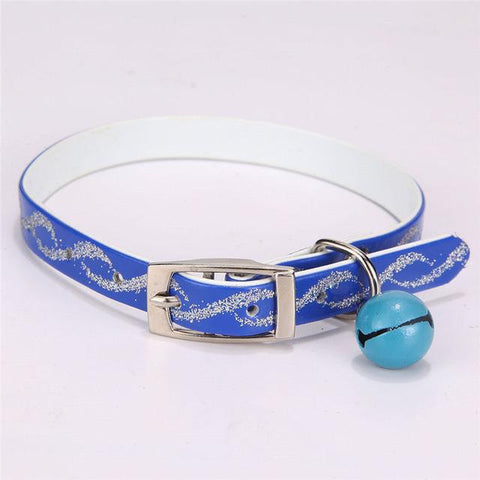 Dog Cat Collar With Bells Bling Retractable For Small Pet Pu Leather Puppy Cats Necklace-Pristine Pups
