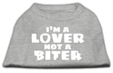 I'M A Lover Not A Biter Screen Printed Dog Shirt Grey Xs (8)-Dog Shirts-Pristine Pups