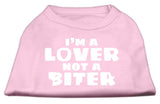 I'M A Lover Not A Biter Screen Printed Dog Shirt Light Pink Xxl (18)-Dog Shirts-Pristine Pups