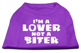 I'M A Lover Not A Biter Screen Printed Dog Shirt Purple Med (12)-Dog Shirts-Pristine Pups