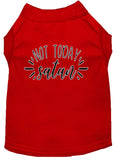 Not Today Satan Screen Print Dog Shirt Red Lg (14)-Dog Shirts-Pristine Pups