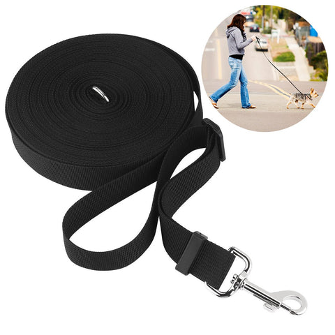 Pet Dog Cat Puppy Tracking Training Obedience Lead Leash (Black) 15M / 50 Feet Long Nylon-Leash-Pristine Pups