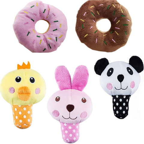 5pcs Squeaky Dog Toys for Small Dogs Food Animal Plush Puppy Dog Toys-Pristine Pups