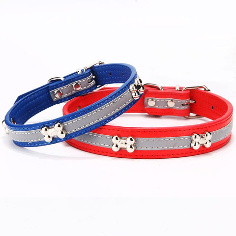 Pu Leather Reflective Dog Collar-Pristine Pups