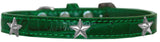 Silver Star Widget Croc Dog Collar Emerald Green Size 20-Pristine Pups