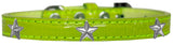 Silver Star Widget Croc Dog Collar Lime Green Size 16-Pristine Pups