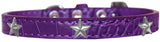 Silver Star Widget Croc Dog Collar Purple Size 12-Pristine Pups