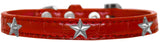 Silver Star Widget Croc Dog Collar Red Size 18-Pristine Pups