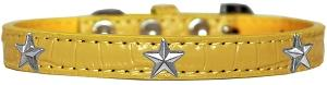 Silver Star Widget Croc Dog Collar Yellow Size 12-Pristine Pups