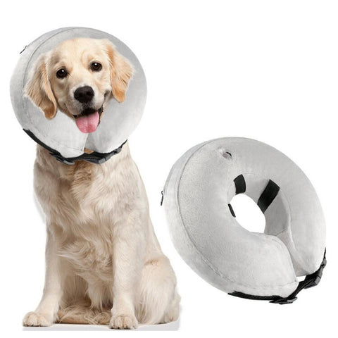 Soft Adjustable Gray Pets Collar Pvc Air Inflation Cover Pet Protection-Pristine Pups
