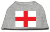 St. George'S Cross (English Flag) Screen Print Shirt Grey Lg (14)-Dog Shirts-Pristine Pups