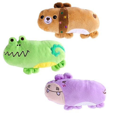 Ueetek 3Pcs Pet Products Plush Squeaky Toys Dog Chew Toys Pet Cats Cute Biting Sound Animal Toys Hippo Bear Frog-Pristine Pups