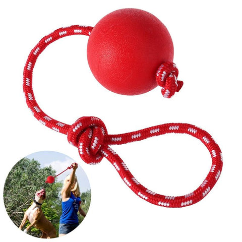 Ueetek Pet Solid Rubber Ball With Rope Dog Ball Launcher Thrower For Pets Training Exercising - Size L-Pristine Pups