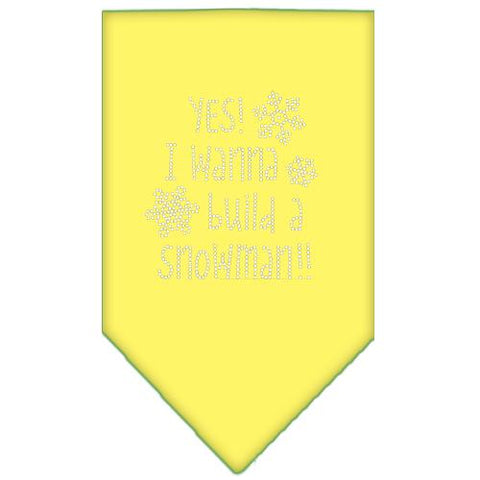 Yes! I Want To Build A Snowman Rhinestone Bandana Yellow Large-Pristine Pups