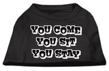 You Come, You Sit, You Stay Screen Print Shirts Black Xxl (18)-Dog Shirts-Pristine Pups