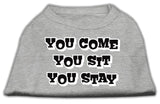 You Come, You Sit, You Stay Screen Print Shirts Grey S (10)-Dog Shirts-Pristine Pups