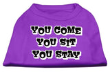 You Come, You Sit, You Stay Screen Print Shirts Purple M (12)-Dog Shirts-Pristine Pups