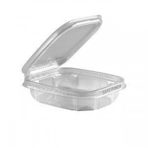 SAFE PINCH ® TAMPER-EVIDENT 8 OZ. 6″ X 5″ CLEAR HINGED CONTAINER (200/CS)