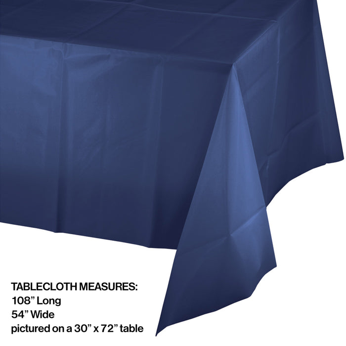 Creative Converting 54 X 108 Navy Rectangular Disposable Plastic Table Cover - 12/Case