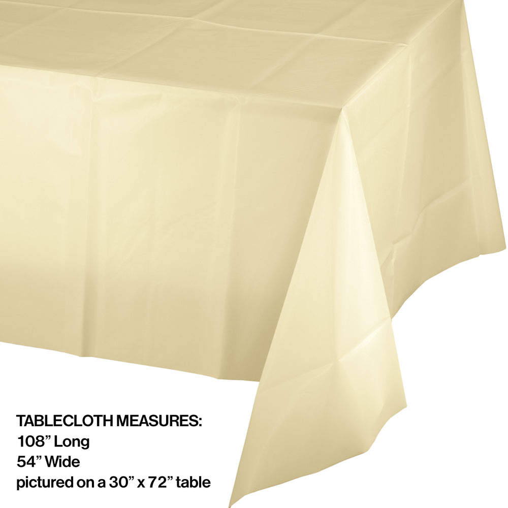 Creative Converting 54 X 108 Ivory Rectangular Disposable Plastic Table Cover - 12/Case