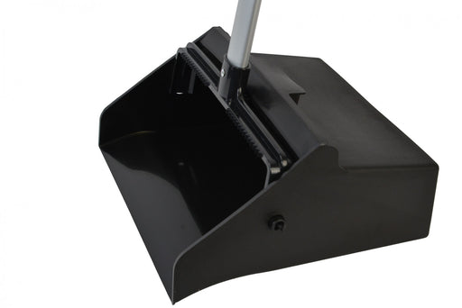 Black Lobby Dust Pan with Aluminum Handle - Paper Supplies Plus