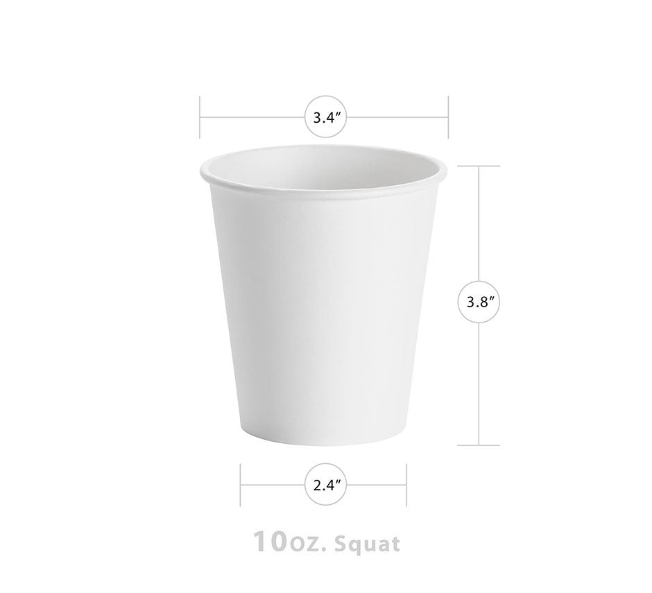 White 10oz Squat Paper Hot Cup (1000/CS) - Paper Supplies Plus