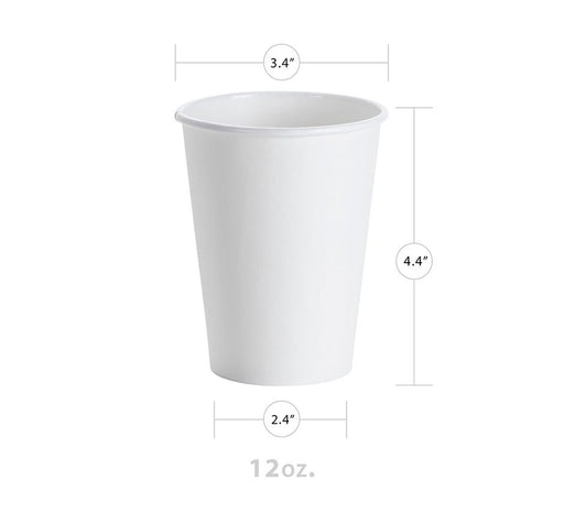 White 12oz Paper Hot Cup (1000/CS) - Paper Supplies Plus