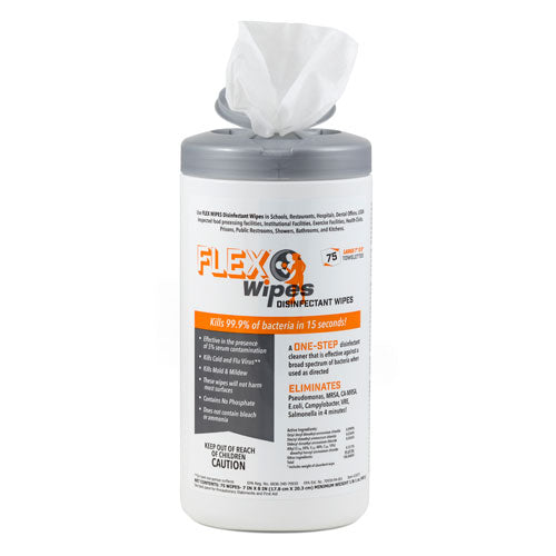 FLEX® Wipes Disinfectant Wipes – 75ct Canister (6 Canisters Per Case)