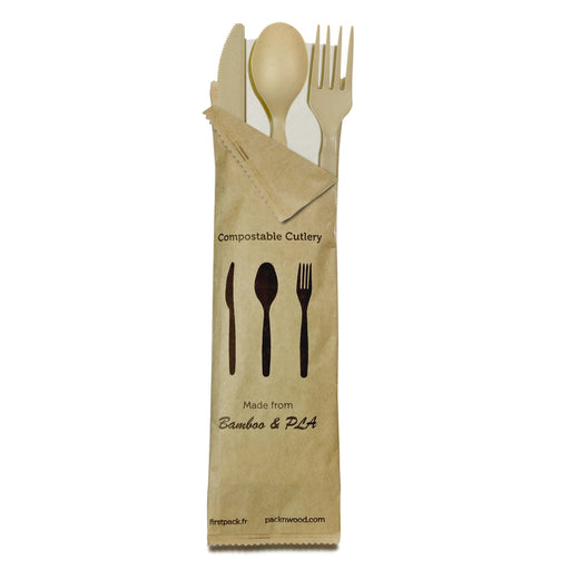 Compostable & Heat Proof Bamboo Fiber - 4/1 Cutlery Kit With Kraft Bag - 6 In. (250 KITS)
