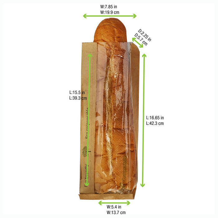 Paper Kraft Bread Bag With PLA window - L: 15.7 in - W: 7.9 in - H: 2.4 in (500 Per Case)