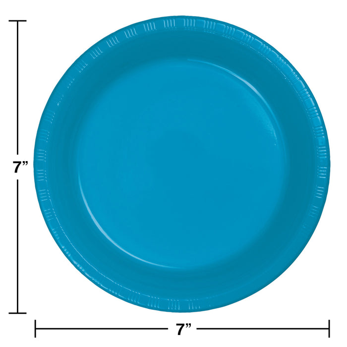Creative Converting 7 Inch Turquoise Disposable Plastic Plate - 240 Plates/Case