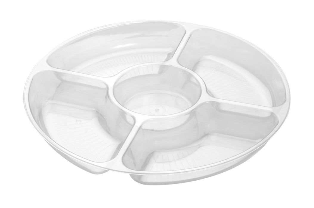 "12"" - 5 COMPARTMENT TRAY-25/CS (Black, White, Clear) - Paper Supplies Plus"