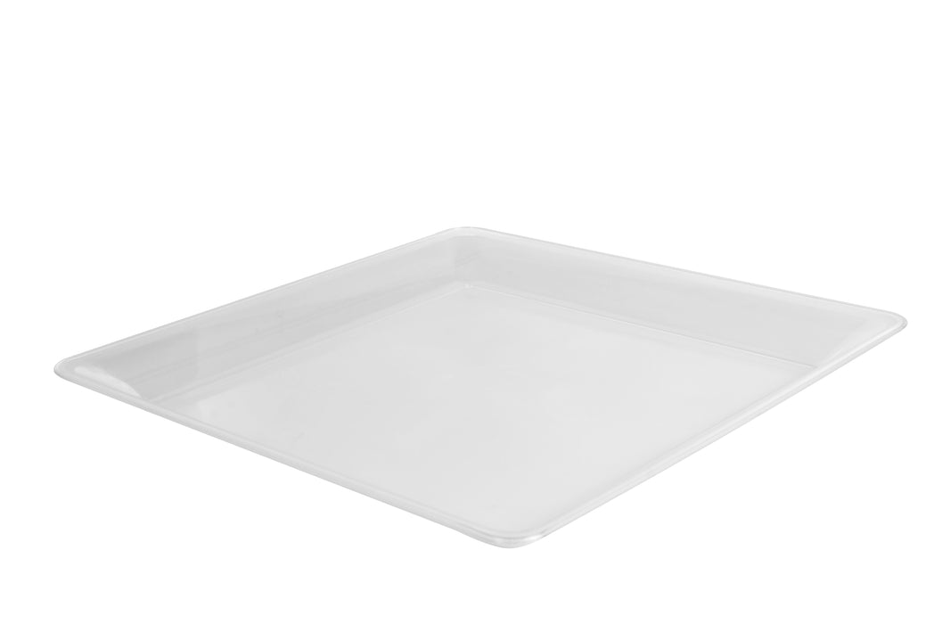 "12"" x 12"" SQUARE PLATTER-25/CS (Black, White, & Clear) - Paper Supplies Plus"