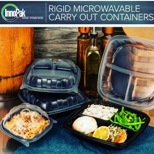 "9"" Rigid 3 Compartment Microwavable Carry Out Container (112 Per Case)"