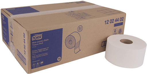 Tork 12024402 Mini Jumbo Bath Tissue Roll, 2-Ply (12 Rolls) - Paper Supplies Plus