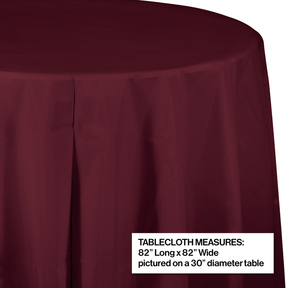 "Creative Converting 82"" Burgundy OctyRound Disposable Plastic Table Cover - 12/Case"