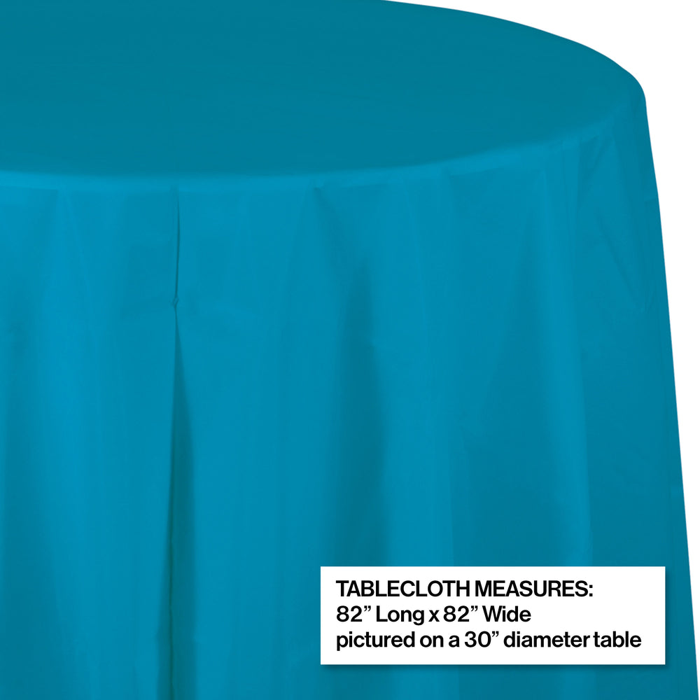 "Creative Converting 82"" Turquoise OctyRound Disposable Plastic Table Cover - 12/Case"