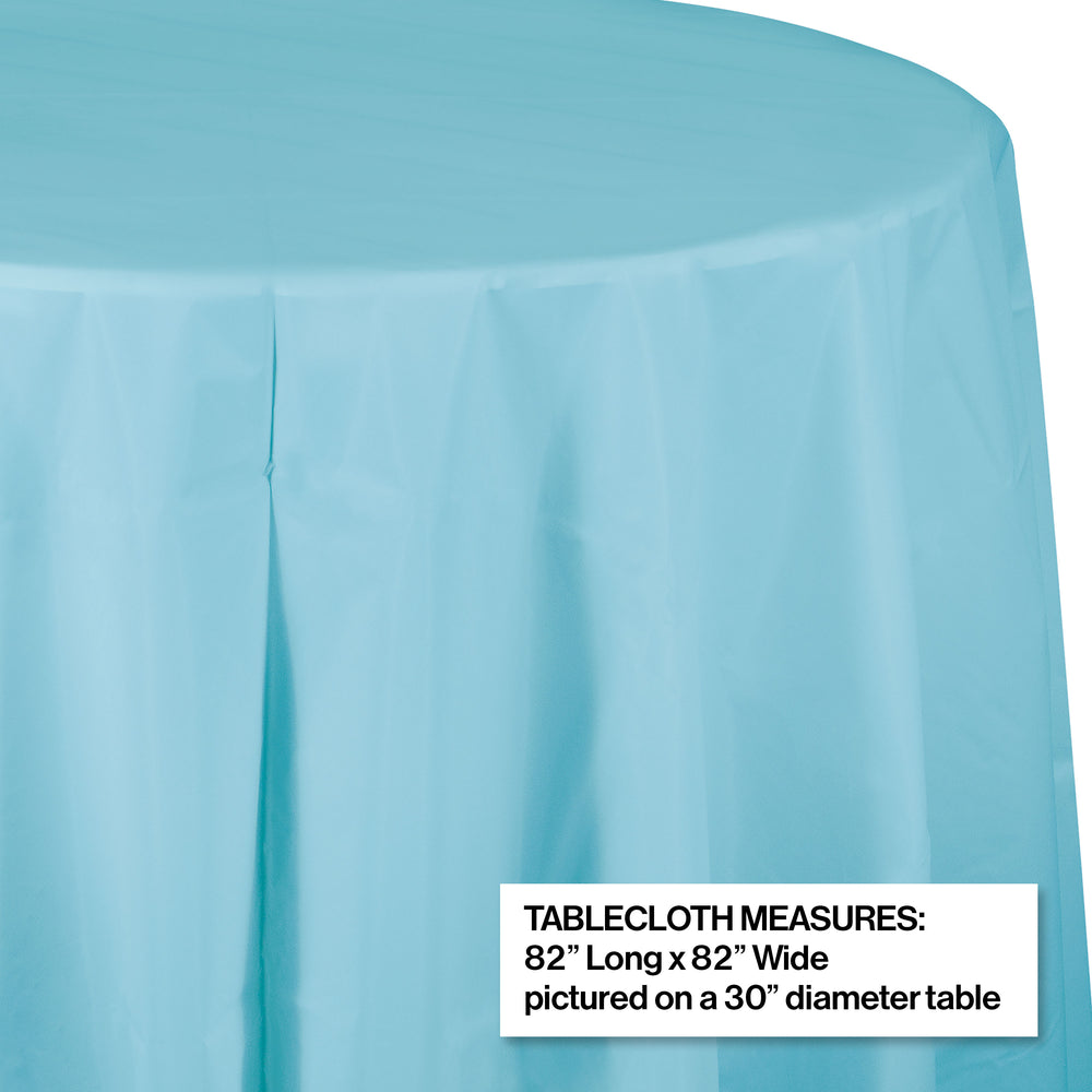 "Creative Converting 82"" Pastel Blue OctyRound Disposable Plastic Table Cover - 12/Case"