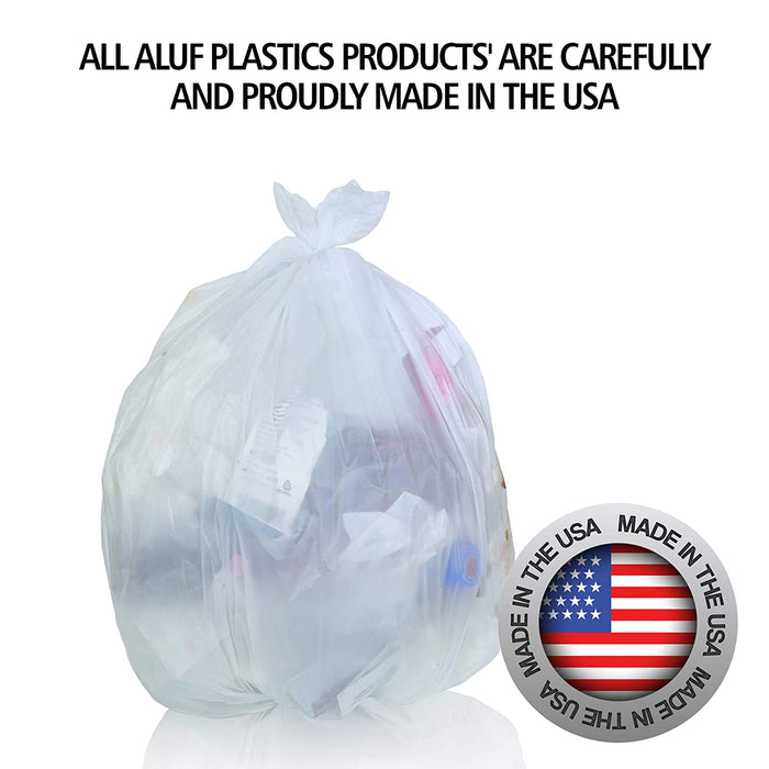 "Aluf Plastics 12-16 Gallon Clear Trash Bags (1000 Count) - 24"" x 33"" - 8 Micron Equivalent High Density Value"