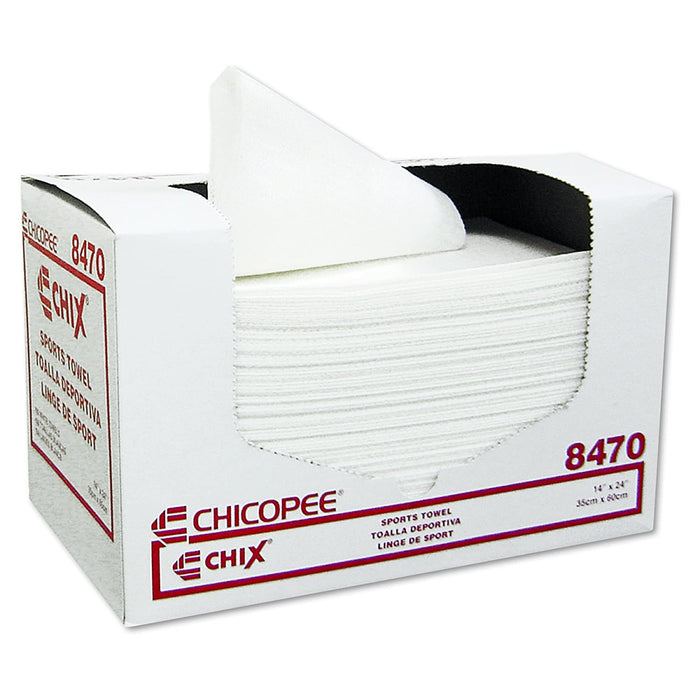 "Chicopee 8470 Sports Towel, 14"" Width x 24"" Length, White (6 Pack of 100= 600 Towels)"