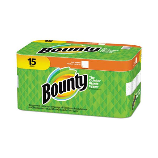 Bounty Paper Towels, 10.2 x 11, 2-Ply, White, 36 Sheets/Roll, 15 Rolls - Paper Supplies Plus