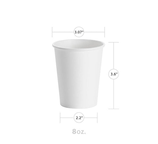 White 8oz Paper Hot Cup (1000/CS) - Paper Supplies Plus